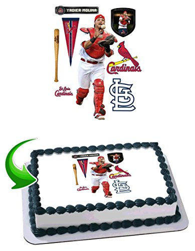 Yadier Molina St. Louis Cardinals Edible Image Cake Topper Icing Sugar Paper A4 Sheet Edible Frosting Photo Cake 1/4 ~ Best Edible Image for -