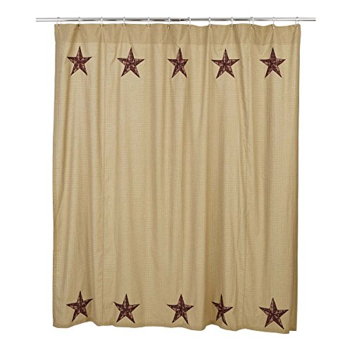 VHC Brands Landon Cotton Shower Curtain in Red
