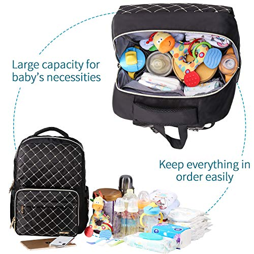 Diaper Bag Backpack, Bamomby Multi-Function Waterproof Travel Backpack Nappy Bags for Mom,Dad with Insulated Pockets, Changing Pad, Newborn Diapers Registry Baby Shower Gifts for Boys,Girls-Black