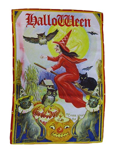 ALBATROS 12 inch x 18 inch Happy Halloween Witch Night Vertical Sleeve Flag for Garden for Home and Parades, Official Party, All Weather Indoors Outdoors -
