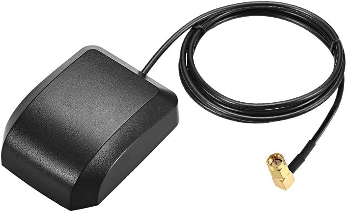 uxcell GPS Active Antenna SMA Male Plug 90-Degree 34dB Aerial Connector Cable with Magnetic Mount 1 Meters Wire L