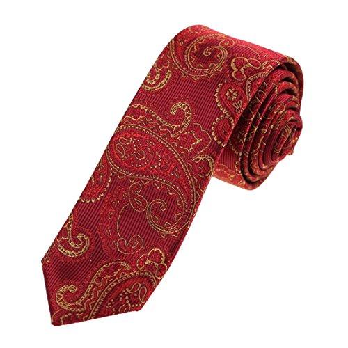 Red Patterned Tie (Epoint EAEB0119 Dark Red Patterned Microfiber Thin Ties Absolutely In Bulking Skinny Tie)
