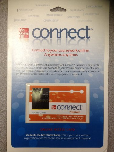 Connect Card to Accompany Fundamentals of Corporate Finance