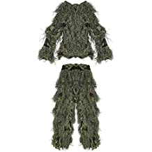 PELLOR Children 3D Camouflage Clothing Ghillie Suit for Outdoor Jungle Woodland Hunting Bird Watching CS