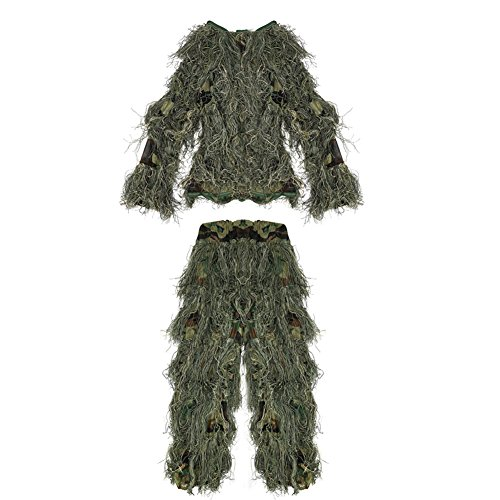 Ghillie Sniper Costume (PELLOR Children 3D Camouflage Clothing Ghillie Suit for Outdoor Jungle Woodland Hunting Bird Watching CS (Camouflage, For height: 3-4.9ft))