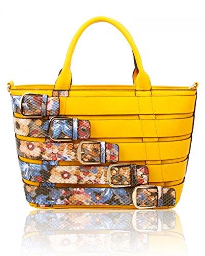 Women's Large Style Bags Lemon Faux Shoulder Celeb Leather LeahWard® Belt CW160477 Handbags F Tote wSUd1qqW5