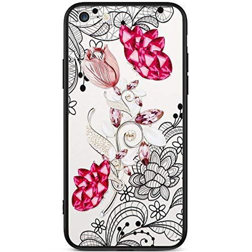 Bling Compatibile Ukayfe Iphone Strass Tpu Case Cover Glitter Silicone Trasparente Con 8 Fiore Hard Bumper 7 Rigida 3 Anti graffio Antiurto Diamanti 5 morbida Custodia Cover fiore Brillantini Pc ttwOrq5vx