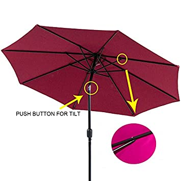 I-Choice 9 ft Outdoor Patio Umbrella Aluminum Market Table Garden Umbrella 8 Ribs W Push Button Tilt Crank Lift Adjustment, Burgundy