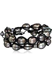 Jordan Alexander Men's Tahitian Pearl Twist with Diamond Bead Bracelet