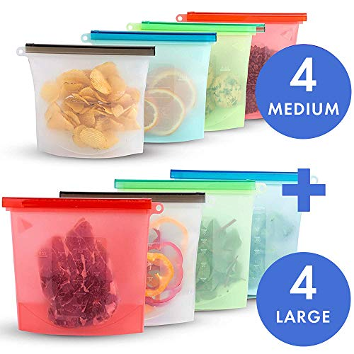 8 Pack Reusable Silicone Food Storage Bags,Wolife Airtight Seal Food Preservation Bags/Food Grade/Versatile Preservation Bag Container for -