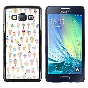 FECELL CITY // Duro Aluminio Pegatina PC Caso decorativo Funda Carcasa de Protección para Samsung Galaxy A3 SM-A300 // Cream Cone Pattern Happy Funny