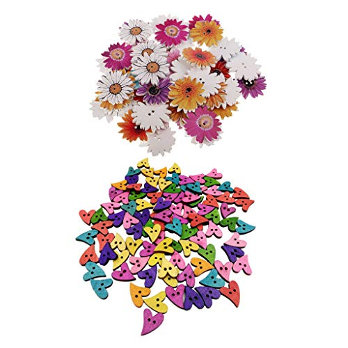 150Pcs Colorful Wooden Sewing Heart Daisy Flower Buttons 2 Holes Art ()