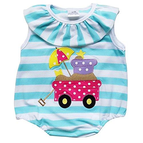 So Sydney Girls Toddler Baby Infant Summer Dress Or Ruffle Baby Bubble Romper (M (6-12 Months), Beach Wagon Stripe Romper)