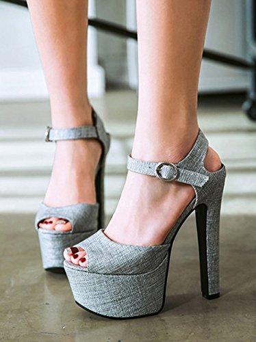 Aisun Womens Plattform Sandaler Med Ankelbandet - Sexy Club Spände Chunky Skor - Peep Toe Mycket Hög Klack Grå