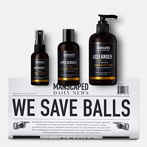 MANSCAPED Crop Essentials, Male Care Hygiene Bundle, Includes Invigorating Body Wash, Moisturizing Ball Deodorant, High Performance Body Toner and Disposable Shaving Mats