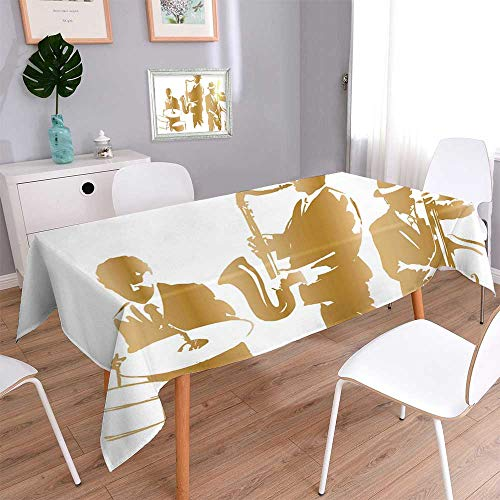 PINAFORE HOME Jacquard Cotton Fabric Tablecloth Jazz Trio Spillproof Tablecloth/W50 x L72 Inch
