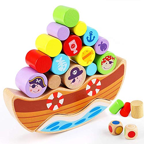 Lewo Wooden Pirate Balancing Game Stacking Building Blocks Montessori Toys for Toddlers - Boat Balancing Game