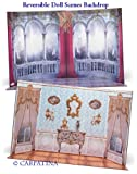 """Doll Scene Backdrop - Reversible Baroque Interior and Castle,Fits 18"""" American Girl"""