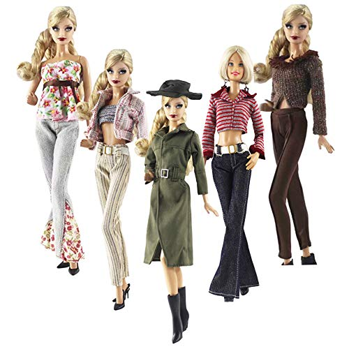 Lance Home Doll Clothes, 5 Sets Fashion Outfits Autumn Dresses Fall Clothes Windbreaker Pants Shoes Bag Hat for Barbie Accessories Baby Gifts Random Style