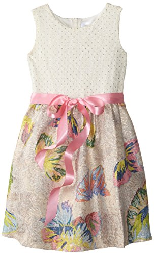 Us Angels Little Girls' Toddler Dress Folied Dot Bodice with Butterfly Print Brocade Skirt, Multi, 3T - Bodice Print Skirt
