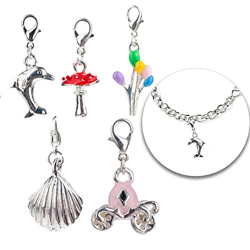 Sets Kits of 5 Each Trendy Silver Colored Charms Clip On Pendants for Armbands Bracelets Bangles With Different Decorations ()
