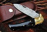 DKC-526 BLACK EAGLE Damascus Steel Folding Pocket Knife 4.5'' Folded 8'' Long 3'' Blade 6.4oz High Class Hand Made DKC Knives
