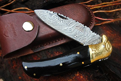 DKC-526 BLACK EAGLE Damascus Steel Folding Pocket Knife 4.5'' Folded 8'' Long 3'' Blade 6.4oz High Class Hand Made DKC Knives by DKC Knives