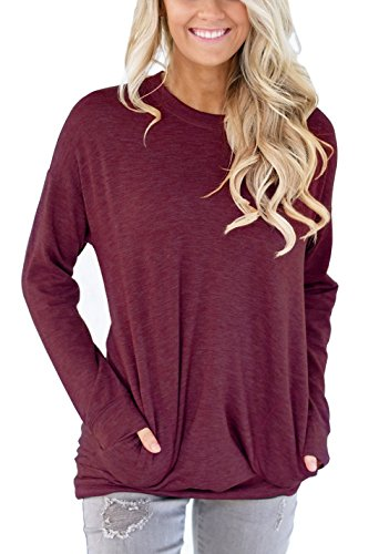 Rayon Women Sweatshirt (XUERRY Women Casual Batwing Long Sleeve Solid Crewneck Sweatshirt With Pockets Loose T Shirt Tunics Blouses Tops(L,Wine Red))