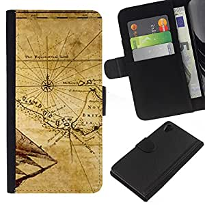 KingStore / Leather Etui en cuir / Sony Xperia Z2 D6502 / Mapa antiguo Breta?a Geografía Eart Continente