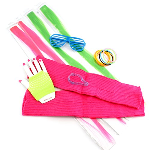 80's 1980's Dress-up Costume Accessories Retro Vintage Set (18 pieces)
