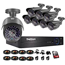TMEZON 8 Channel 1080P HDMI AHD DVR HVR NVR 5 in 1 Security System including 8x 2000TVL 2.0MP Waterproof Bullet Surveillance Camera w/ 42 IR Leds Night Vision Up to 130ft Remote View 1TB HDD