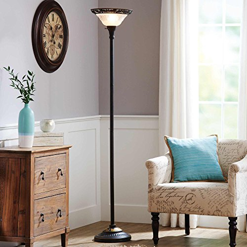 70 Inch Elegant & Stylish Torchiere Floor Lamp with Frosted Glass Shade in Satin Copper Finish For Living Room - Pink Brushed Floor Lamp