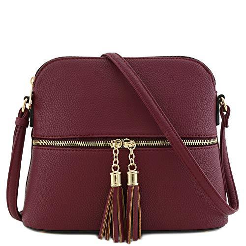 Tassel Zipper Pocket Dome Crossbody Bag (Wine)