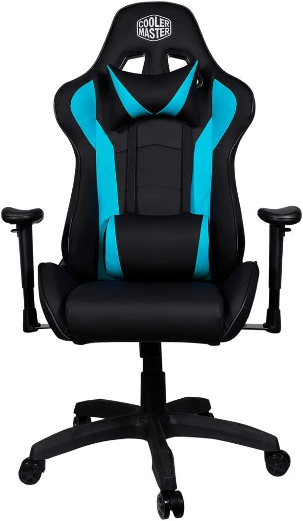 Cooler Master Caliber R1 Gaming Chair High-Back Office Computer Game Chair, PU Leather Reclining Ergonomic Backrest, Seat Height and Armrest Adjustment with Headrest and Lumbar Support - Cyan-Blue