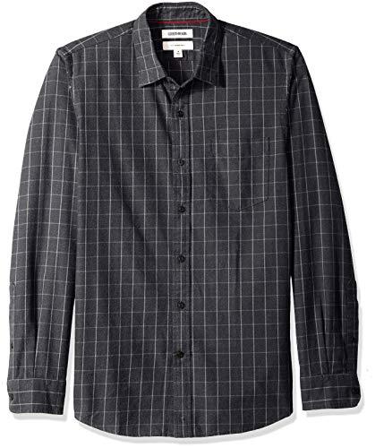 - Goodthreads Men's Slim-Fit Long-Sleeve Brushed Flannel Shirt, Grew Windowpane, X-Small