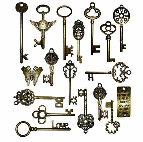 Vintage Skeleton Keys Charm Set in Antique Bronze Pack of 18 Keys, 18, No Repeat -