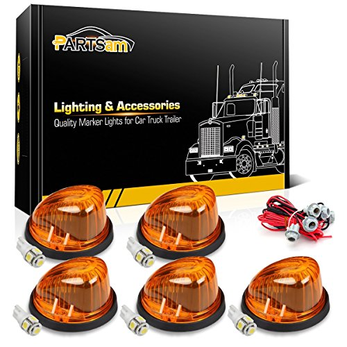 - Partsam 5X 1313A Cab Marker Roof Running Round-Shape Amber Lights + 5X T10 5050-SMD White LED Bulbs + T10 Wiring Harness Compatible with Chevrolet/GMC C/K Series 1973-1987 Full Size Pickup Trucks
