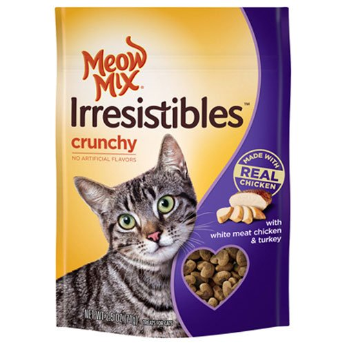 Meow Mix Irresistibles Crunchy Cat Treats with Real White Meat Chicken and Turkey, 6 oz