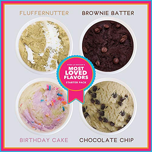 Viva La Dough Edible Cookie Dough - 100% Egg-Free - Best of: Starter Kit (4 Flavors - 4 Pack) (Dough Cookie Tub)