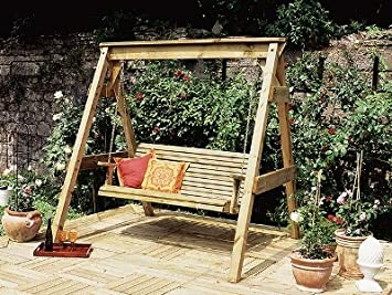 Wondrous Garden Swing Bench 3 Seater Wooden Garden Swing Seat With Camellatalisay Diy Chair Ideas Camellatalisaycom