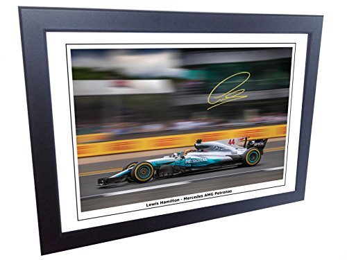 12x8 A4 Signed Lewis Hamilton 2017/18 Mercedes-AMG Petronas Autographed Photo Photograph Picture Frame Motor Sport Formula 1 F1 (Authentic Player Autographed Card)