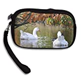 100% Polyester Change Purse, Water Nature Animal Pond Wildlife Swim Reflection Autumn