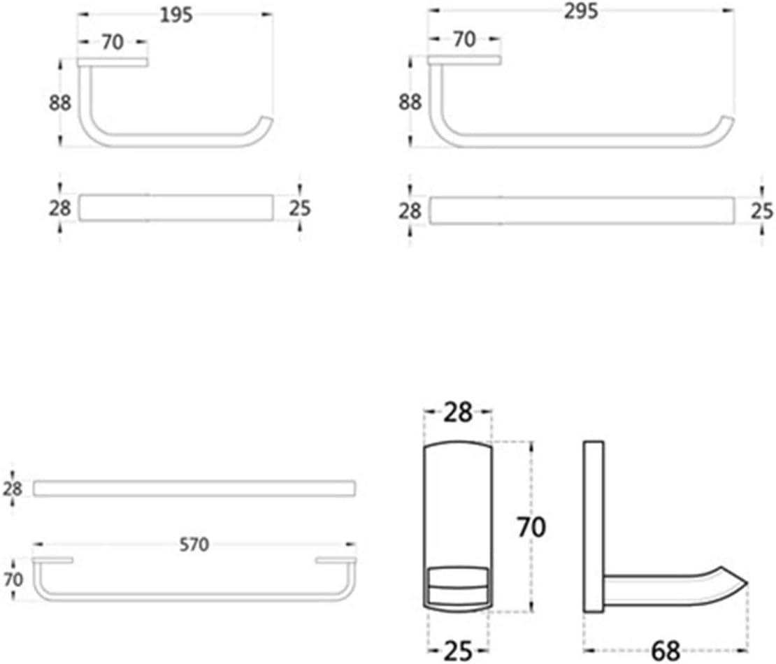 Messing Wandmontage Toilettenpapierhalter,Handtuchhaken 57 cm Handtuchhalter Single Flybath 4-teiliges Badezimmer Zubeh/ör Set Nickel Geb/ürstet Handtuchring
