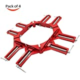 GTANG 4Pcs 90-Degree Right Angle Miter Corner Clamp / Red Corner Hand Jig Tool for Picture Frame, Cabinet, Wood-working Holder