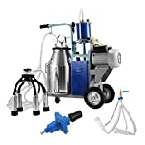 Happybuy Electric Milking Machine 1440 RPM 10-12 Cows per Hour Milking Machine 0.55 KW Milking Machine Single with 25L 304 Stainless Steel Bucket Milk Machine for Cows and Goat (for Cow and Goat)