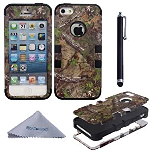 Wisdompro Triple Layer Green Forest Tree Camo Hybrid Hard Case Cover for Apple iPhone 5/5s (Black)