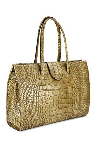 Belli &apos quot;Diseño Bag C Italiana. Piel Funda   Business Funda   jobbag–Gran Selección de Colores–40x 30x 12cm (B X H X T) Taupe Kroko