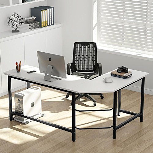 Tribesigns Modern L-Shaped Desk Corner Computer Desk PC Laptop Study Table Workstation Home Office, Wood & Metal (White + Black Leg)