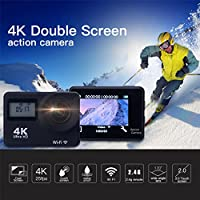 Emcent Action Camera 4K WIFI Sports Camera Full HD 4K 25fps 2.7K 30fps 1080P 60fps 1080P 30fps 720P 120fps 720P 60fps Video Camera 12MP Photo and 170 Wide Angle Lens, Remote Control Black