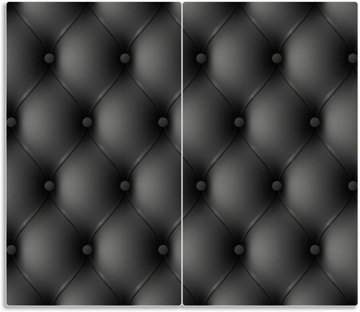 80x52cm f/ür Ceran- und Induktionsherde Motiv Schwarze Ledert/ür 2-teilig Wallario Herdabdeckplatte//Spritzschutz aus Glas